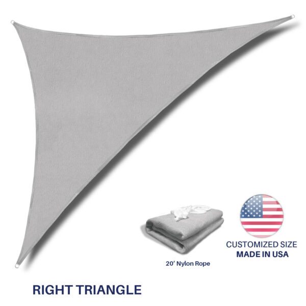 Sun Shade Sail Light Gray Permeable UV Block Outdoor Canopy Awning Pool Patio