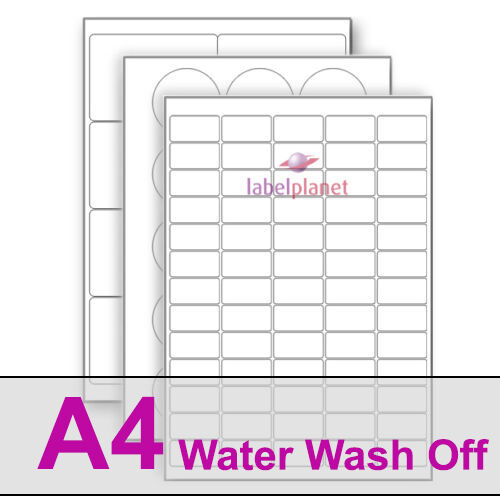 A4 Water Wash Off Labels On Matt White Paper. Washes Off Leaving No Residue!