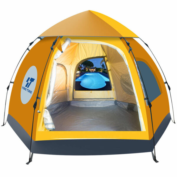 Waterproof 5-6 People Automatic Instant Pop Up Brown Tent Camping Hiking Tent