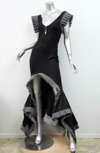 ZAC POSEN *OOAK* *1st COLLECTION* Black V-Neck Striped Ruffle Gown Dress XS