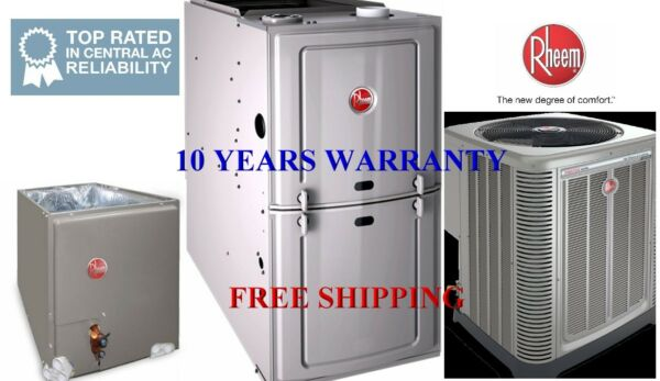 3.5 Ton R410A 16SEER Complete AC & Heat System Condenser & Evap Coil & Furnace