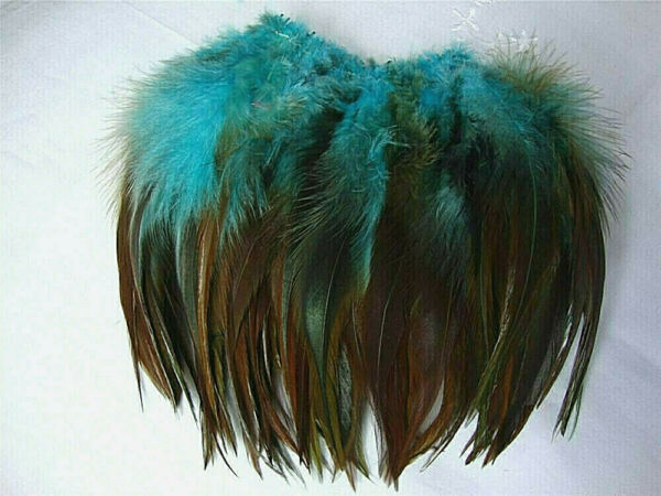 Natural Furnace Dyed Turquoise Rooster Saddle Hackle Feathers US Seller $6.99