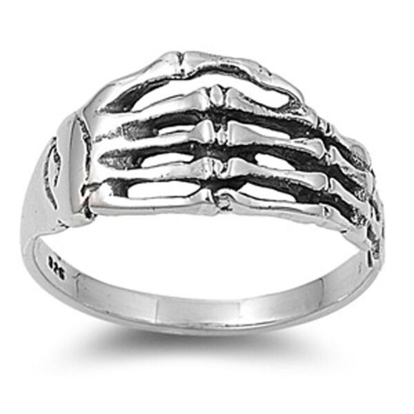 Sterling Silver Skeleton Hand Ring Artistic Custom Band Solid 925 Sizes 5-10