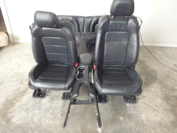 15-16 FORD MUSTANG FRONT BUCKET AND REAR SEATS BLACK LEATHER POWER HEATCOOL