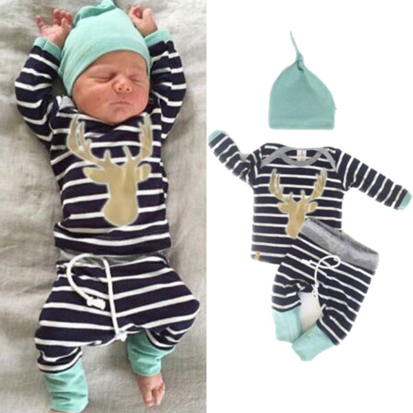 Newborn Baby Boy Girl Long Sleeve Tops +Long Pants Hat 3PCS Outfits Set Clothes