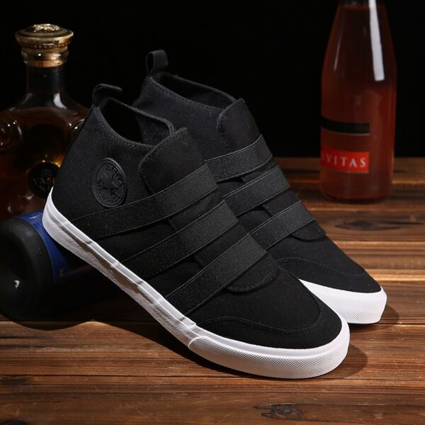 Men Sport Outdoor High Top Sneakers Canvas Running Casual Athletic Slip on Shoes