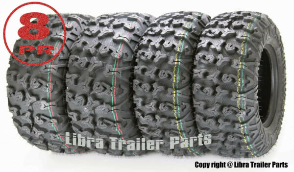 Full Set Free Country ATVUTV Tires 25x8-12 & 25x10-12 8PR wSide Scuff Guard