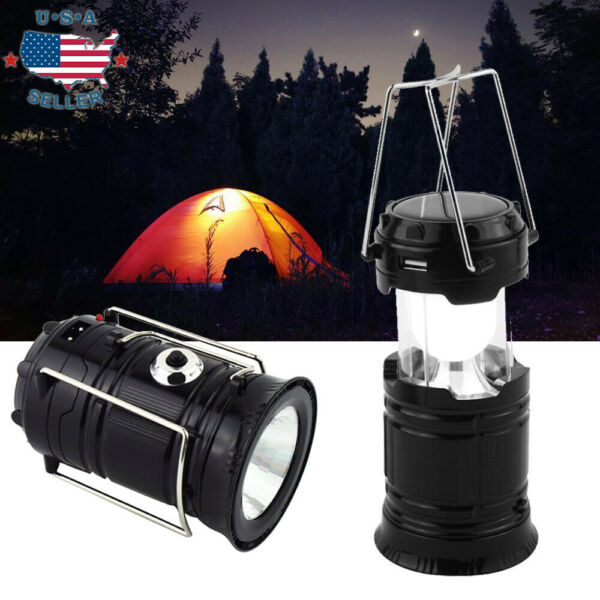 USB Solar 6 LED Portable Light Rechargeable Lantern Outdoor Camping Hiking Lamp