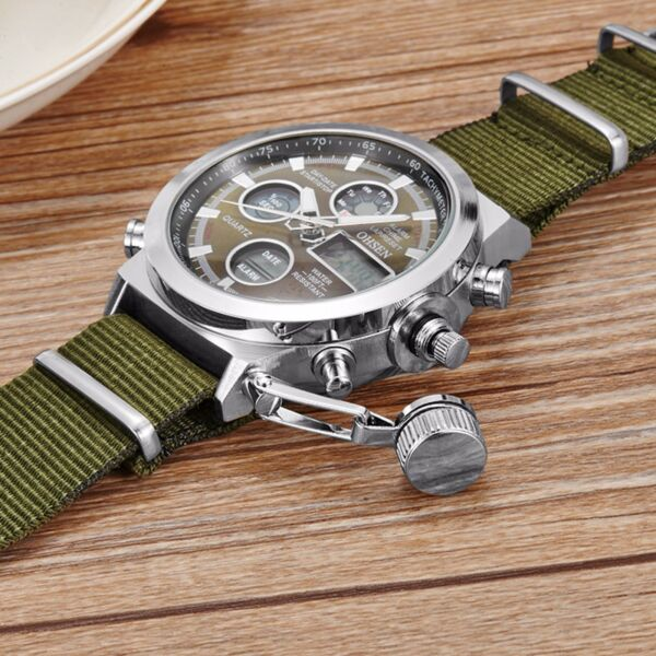 Men Military Army Green Analog Digital Quartz Nylon Canvas Wrist Watch Sports