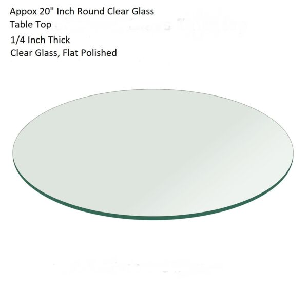 20quot; APPROX. Round Flat Polished Edge Textured Glass Table Top 1 4quot; Thick