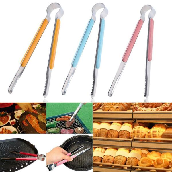 Stainless Cooking Kitchen Tongs Food BBQ Salad Bacon Steak Bread Clip Clamp Clip