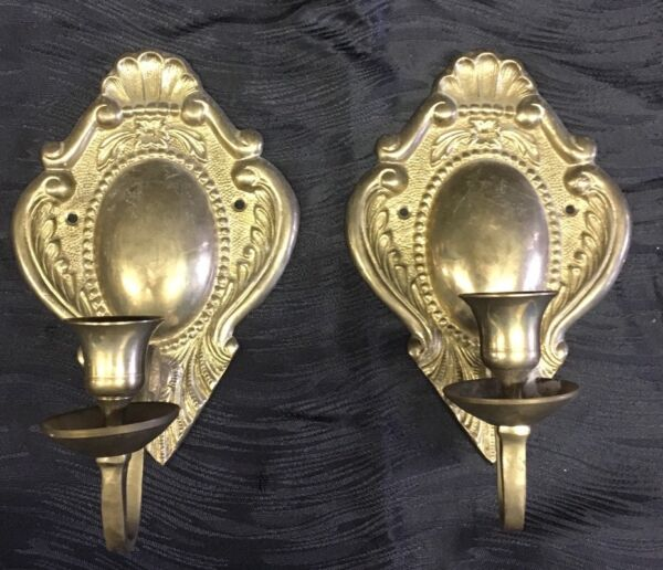 Vintage Pair Of Heavy Solid Brass Colonial Style Candlestick Holder-Wall Sconces