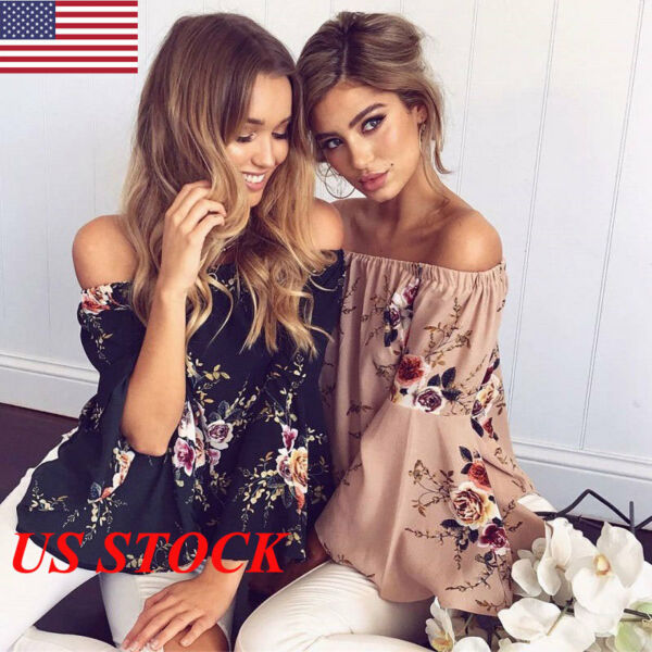 USA Womens Off Shoulder Floral Shirt Fashion Summer Casual Blouse Top Shirt