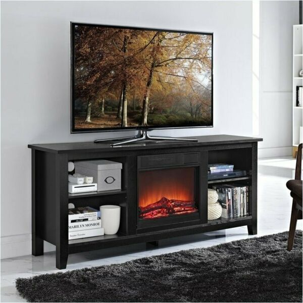 Pemberly Row 58quot; Wood TV Stand with Fireplace in Black