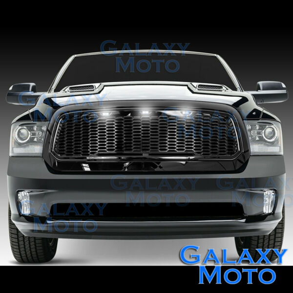 Raptor Gloss Black Replacement Mesh GrilleShellWhite LED for 13 17 Dodge RAM