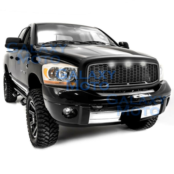 Raptor Matte Black Replacement Mesh GrilleShellWhite LED for 06 09 Dodge RAM