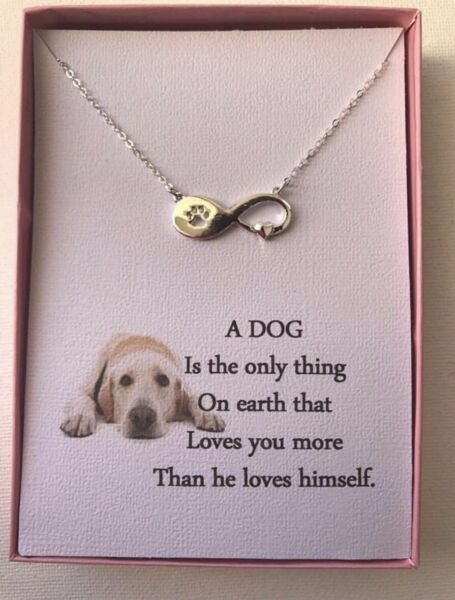 Infinity Dog Paw Love Pendant Necklace with poem $14.95
