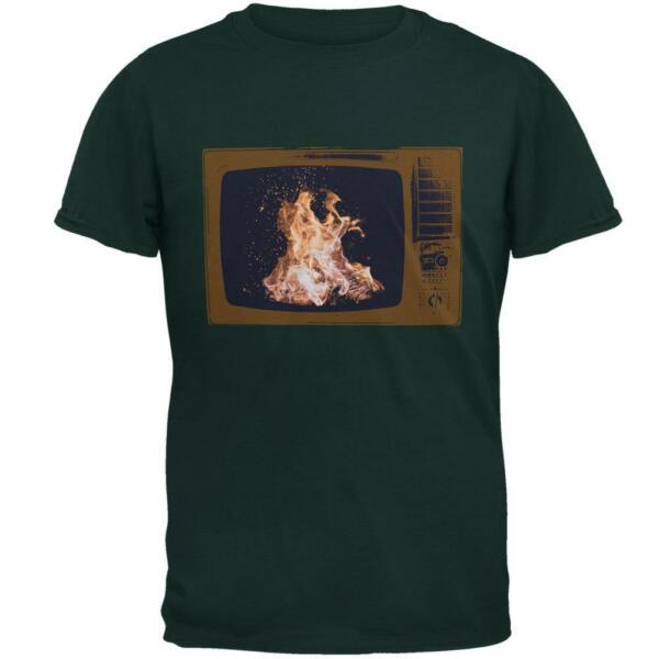 Autumn Funny Faux Fireplace Television Mens T Shirt