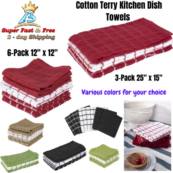 Terry Cloth Dish Towels Kitchen Dish Towels Cotton Absorbent Dusting Cleaning