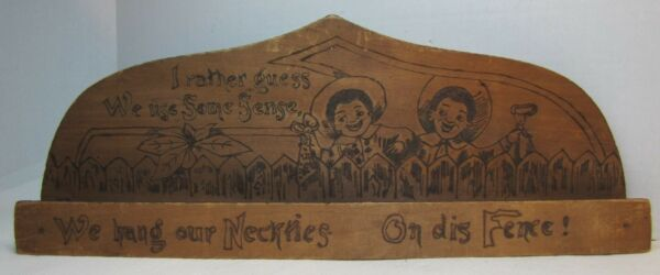 Antique Wooden Flemish Art Pyrography Black Americana Neck Tie Rack