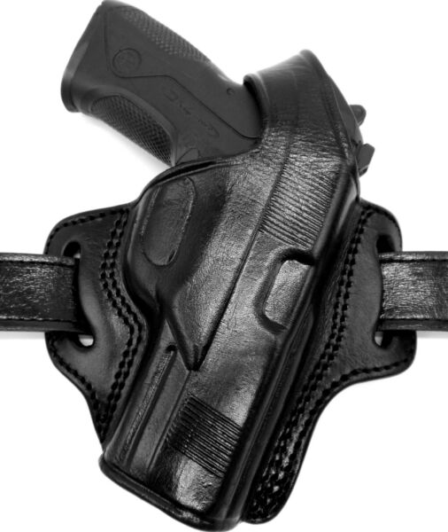 TAGUA RIGHT HAND BLACK LEATHER OWB BELT HOLSTER with THUMB BREAK - CHOOSE GUN