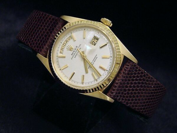 Mens Rolex Day-Date President 18K Yellow Gold Watch White Dial Brown Band 1803