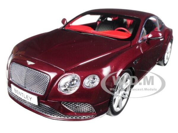 2016 BENTLEY CONTINENTAL GT COUPE BURGUNDY 118 DIECAST MODEL BY PARAGON 98221