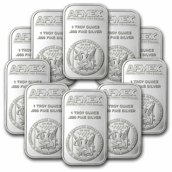 1 oz Silver Bar APMEX Lot of 10 Bars .999 Fine Silver