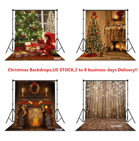 US 10X10FT 5X7FT XMAS Tree Ball Fireplace Vinyl Photo Background Studio Backdrop
