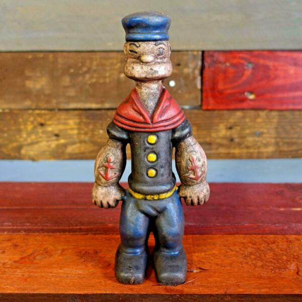 Popeye Sailor Man 9quot; Cast Iron Toy Bank Figurine Painted Antique Finish