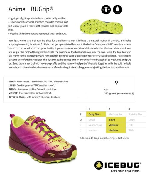 NEW Icebug Anima Bugrip Studded Womens Trail Running Winter Ice Shoes Msrp$185 $2.99