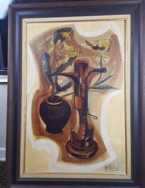 Original Mid-Century Abstract Multi Media Jack Amoroso - Listed Artist