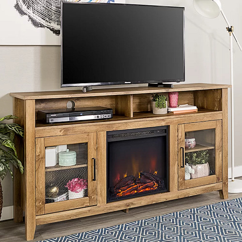 Electric Fireplace TV Stand Barnwood Wood Media Console Heater Entertainment Cen