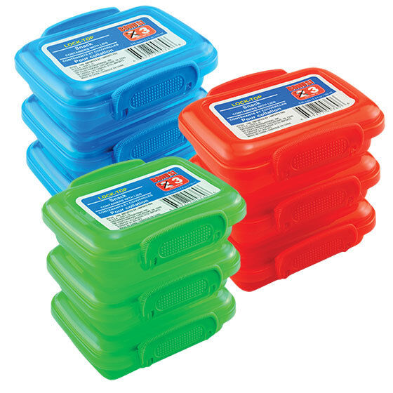 3 ct Plastic Snack Containers with Lock-Top Lids 6 Color Choices