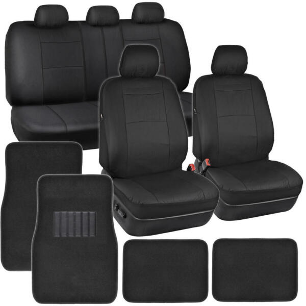 Black PU Leather Seat Covers for Car SUV Auto w Front amp; Rear Carpet Floor Mats $39.90