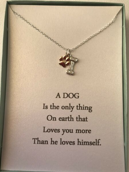Sterling Silver Necklace Dog Paw And Bone pendant w poem $14.95