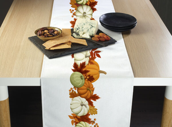 Pumpkin Border Table Runners 12quot; x 72quot; or 14quot; x 108quot;
