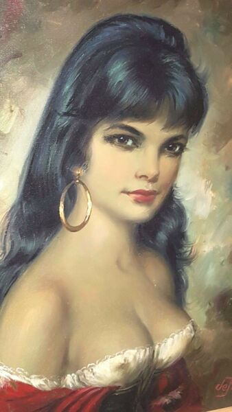 Listed Artist Willy de Pré 1922-1995 Oil on Canvas Gypsy Girl Sultry Beautiful