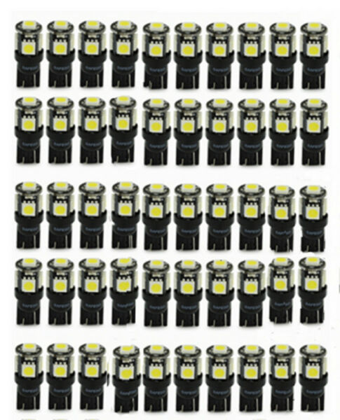 50X T10 LED Interior Pack Lights W5W 5-SMD 5050 194 168 2825 Wedge Lamp White