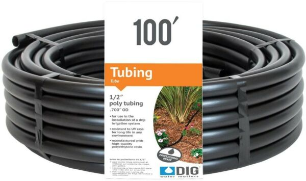 1/2 in. x 100 ft. Poly Drip Emitter Line Tubing Hose Garden Watering Irrigation