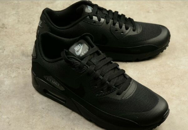 MENS NIKE AIR MAX 90 ULTRA 2.0 ESSENTIAL TRIPLE BLACK SHOES 875695-002 Size 8-11