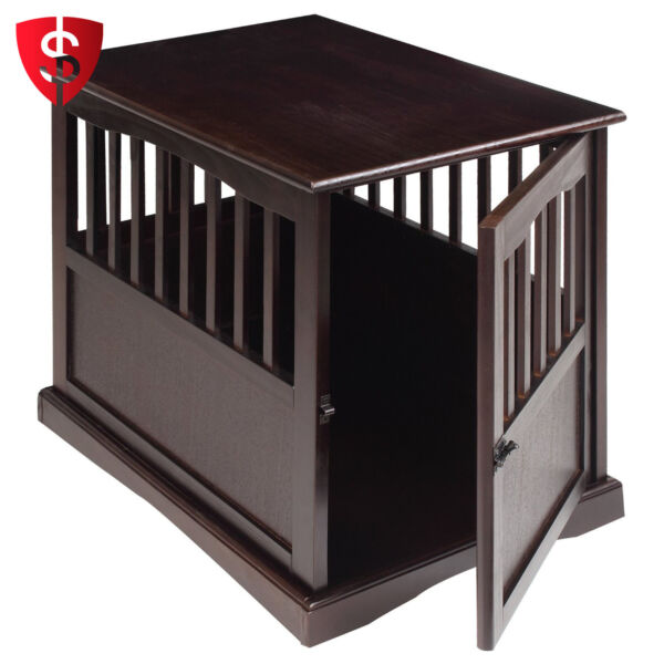 Wooden Dog Crate Puppy Cage Furniture Indoor Bed Room End Table Home Oversized