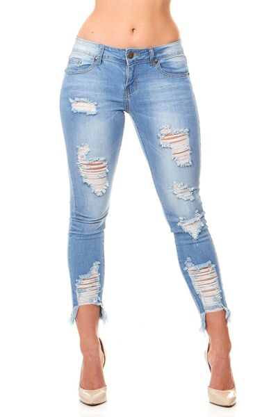 VIP Jeans Ripped Distressed Skinny jeans for women Junior  Plus size 5 Colors