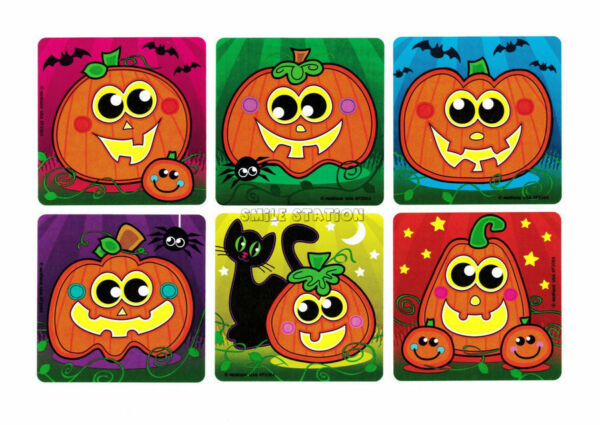12 Pumpkin Jack-O-Lantern Halloween Stickers Kid Party Goody Bag Favor Supply