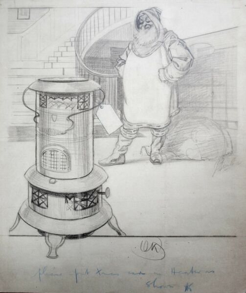 J.A.Beale. Fine original drawing 1921. Advertisement antique stove Round Oak?