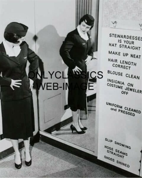 1951 UNITED AIRLINES STEWARDESS FLIGHT ATTENDANT RULES SIGN 8X10 PHOTO AVIATION