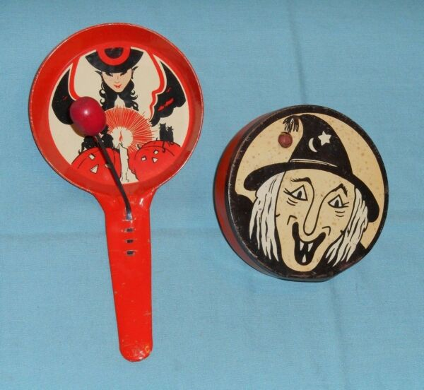 vintage Halloween NOISEMAKER LOT x2 Kirchhof witch face + witch/goblins/cats