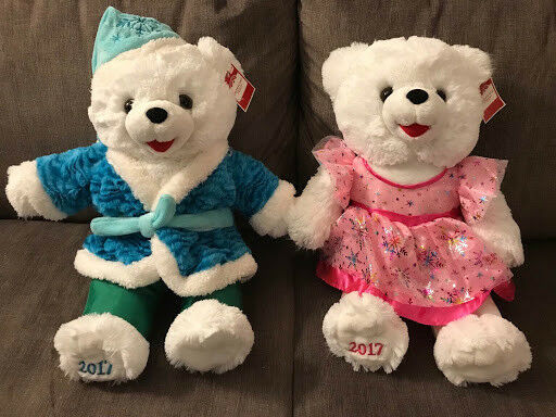 "2017 Walmart Christmas Snowflake Teddy Bears 20"" Girl pink dress"
