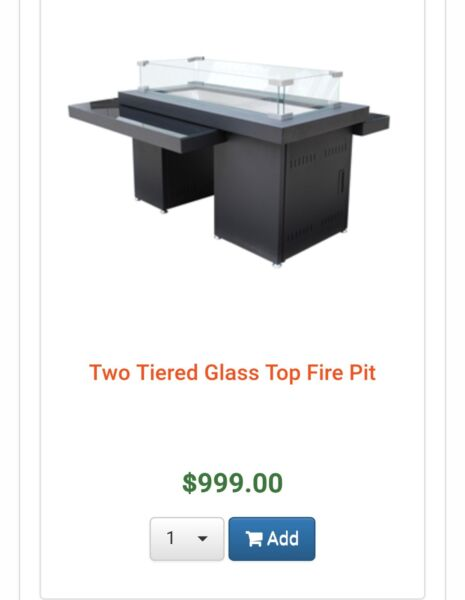 2 Tier Glass Top fire pit Patio furniture for the backyard. By AZ Patio.