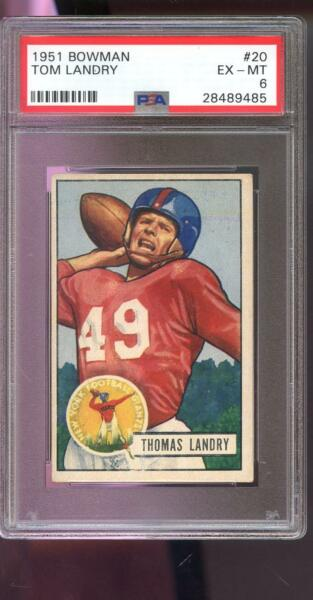 1951 Bowman #20 Tom Landry ROOKIE RC New York Giants PSA 6 Graded Football Card
